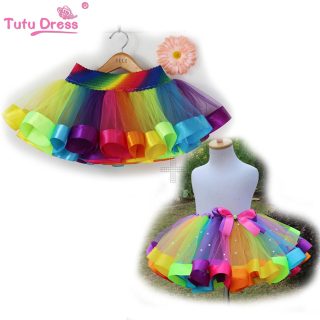 Kids Lovely Handmade Colorful Tutu Skirt Girls Rainbow Tulle Tutu Mini Skirt