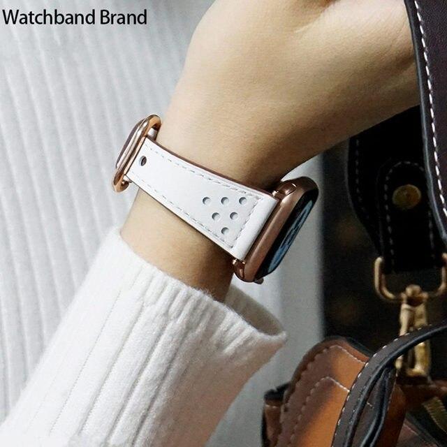 Correa de cuero para apple watch band 38mm 42mm iWatch 4 band 44mm 40mm elegante correa de cuero genuino para apple watch 4 3 2 1