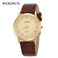 New Classic Mens Watches Top Luxury Brand Woonun Yellow Gold Watch Man Shockproof Waterproof Quartz Ultra thin Watches For Men