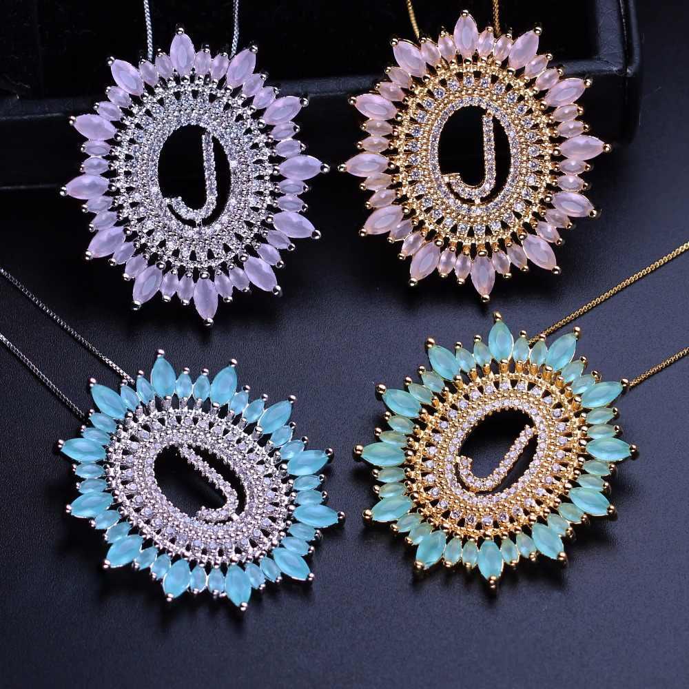 アルファベット頭文字ペンダントネックレスキュービックジルコンチョーカーネックレス珊瑚ファッションジュエリー女性のためのギフト