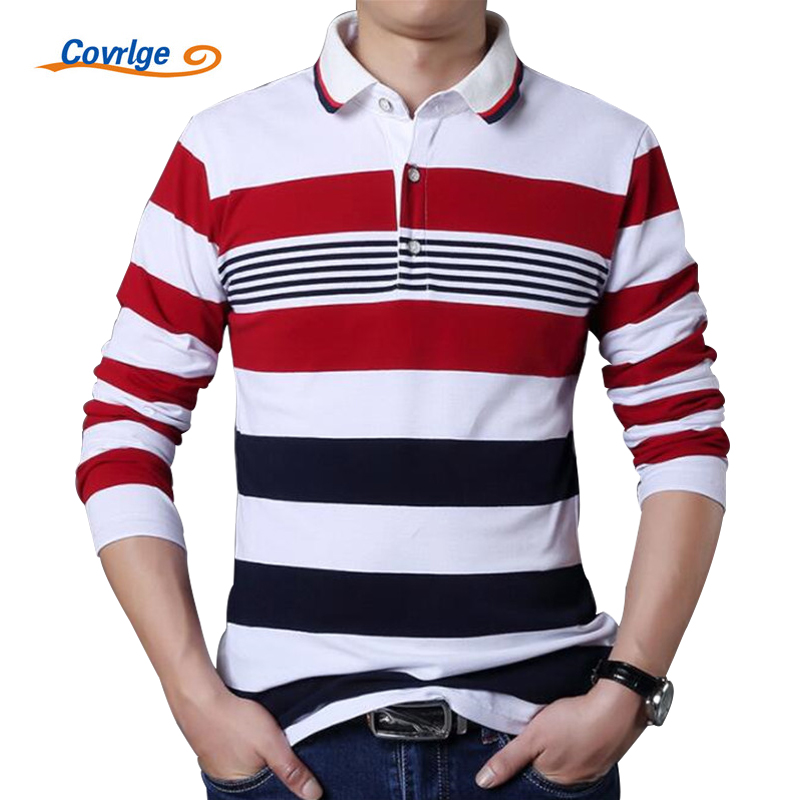 Covrlge Male   Polo   Shirt Brand Fashion Men's Striped Tee Shirt Casual Long Sleeve Men Blouse Plus Size 4XL 5XL   Polos   Tops MTP042