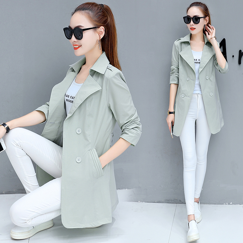 New Fashion 2019 Spring Autumn Women Casual Thin 3/4 Sleeve Office   Trench   Coat Female Double Breasted Windbreaker