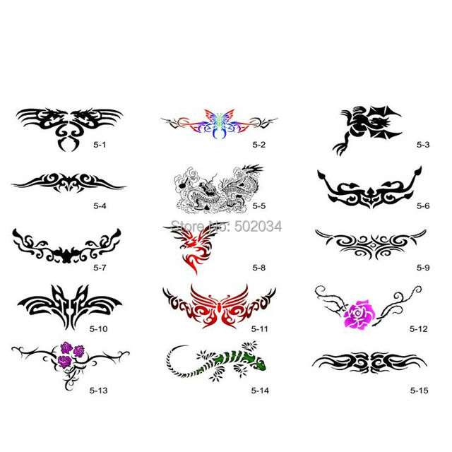 Freeshipping 30 Patterns Airbrush Temporary Tattoo Stencils Booklet 5 Set for Airbrushing Art Booklet Body Tatto Art