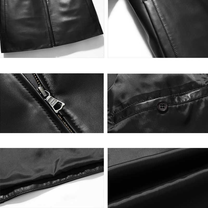 2018春メンズ本革ジャケットブランドリアルシープスキンコートjaquetaデcouroブラック男性本革ジャケット用男性