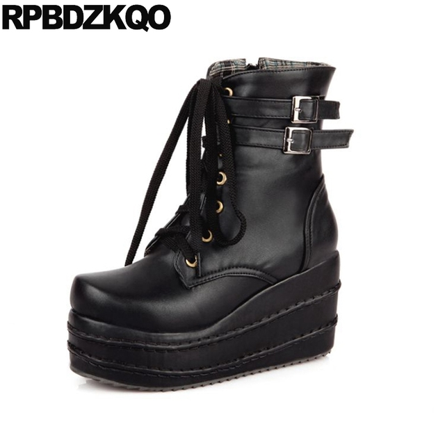1f1a1841cd0 Wedge Harajuku 10 Muffin Punk Ankle Big Size Shoes Rock White Waterproof  Gothic Platform Boots Women