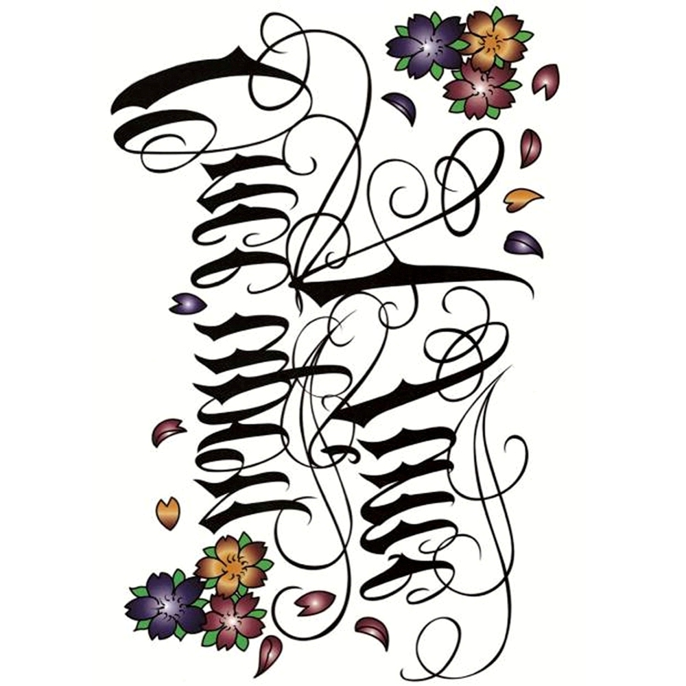 Yeeech Temporary Tattoos Sticker for Women Fake Sexy Large Letter Word Once upon a Time Verses Designs Arm Leg Back Body Art