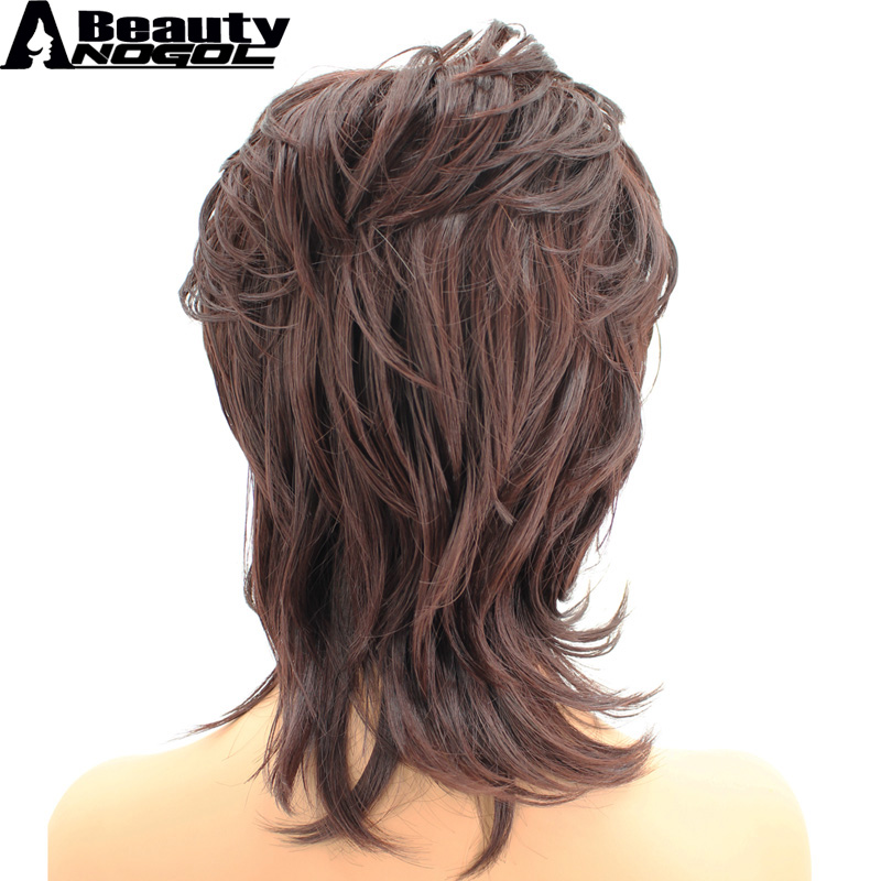 ANOGOL BEAUTY Hair Cap+Auburn Shaggy Layered Natural Wave High Temperatre Fiber Synthetic Wig For Womens Ladies Girls With Bangs