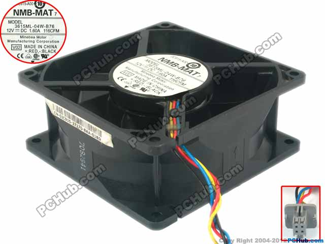 NMB-MAT 3615ML-04W-B76, V02 DC 12V 1.60A    40mm 92x92x38mm Server Square  Fan nmb mat 3110kl 04w b49 b02 b01 dc 12v 0 26a 3 wire server square fan
