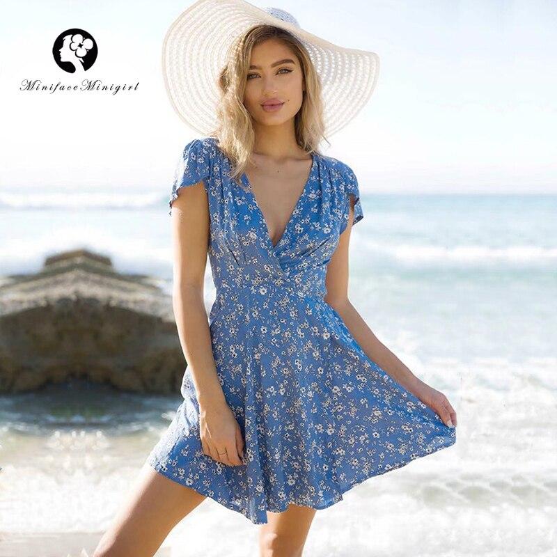 Blue Women Summer Dress Floral Print Deep V Neck Adjust Waist Casual Mini Vestidos Beach Party Dress