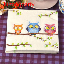 2 packs Food-grade Abstract pattern Napkin Paper 100% Virgin Wood bird cotton Tissue for Party Decoration Paper Crafts цена и фото