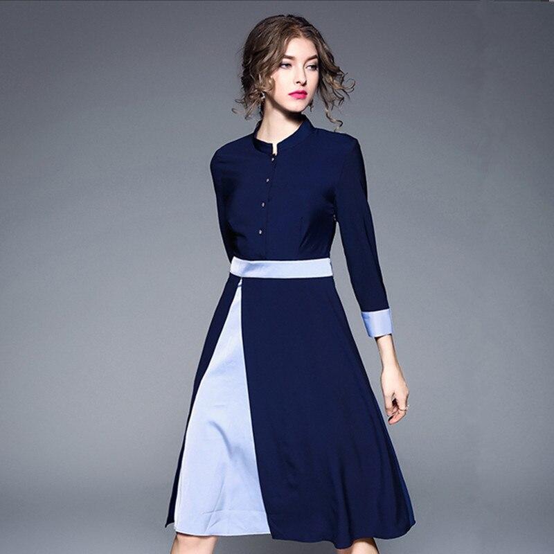 Bureau bouton robe formelle robe femmes élégant bleu dames robes 2018 Multi Way F2940 Patchwork 2 couleurs