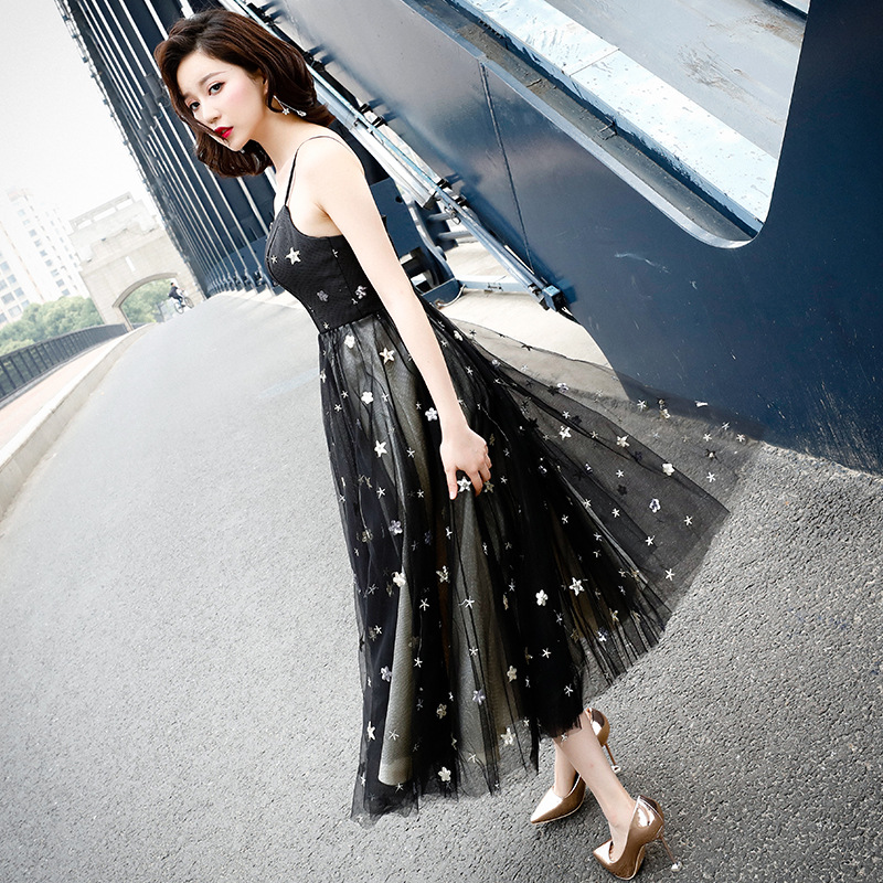 Sleeveless   Cocktail     Dress   Sexy Spaghetti Strap Backless Party Gowns Sequined Lace Plus Size Ankle-Length Formal Party   Dress   E383