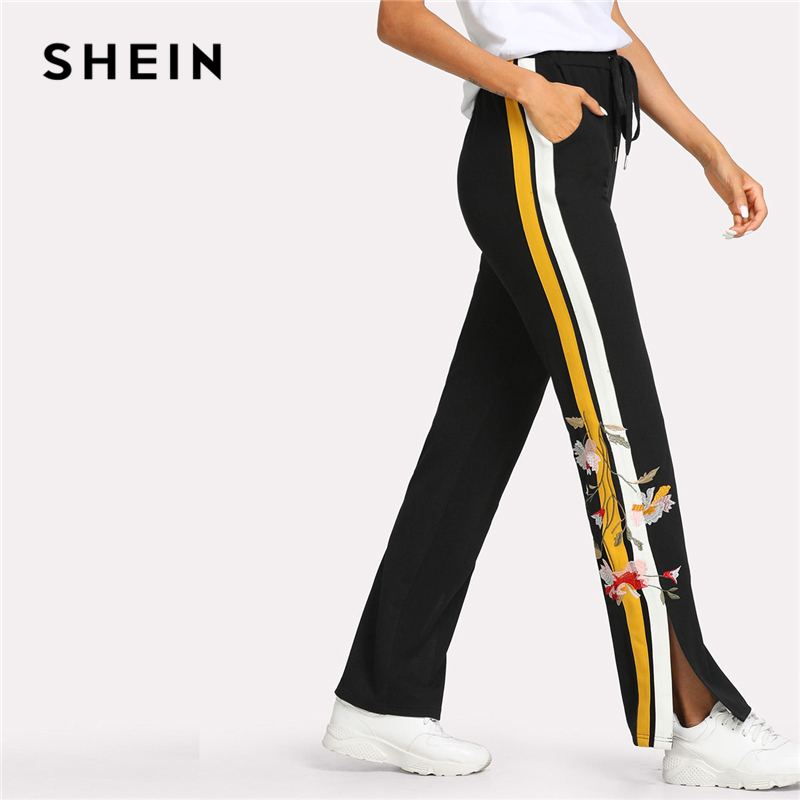 SHEIN Flower Embroidered Contrast Panel Side Sweatpants Women Elastic Waist Pocket Trousers 2018 Casual Colorblock Split Pants pocket side elastic waist pants