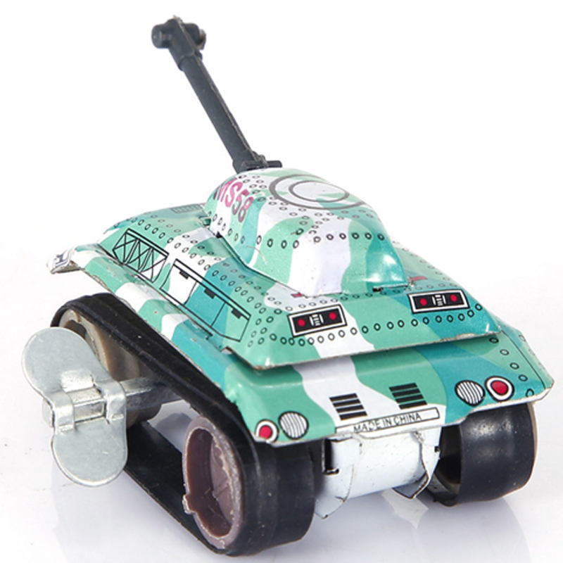 2pcs / lot gratis verzending Retro Vintage Toys Tank Tin Auto Wind-up Toy Kleine Tank Children's Day Gift Kinderen Christmas Gift