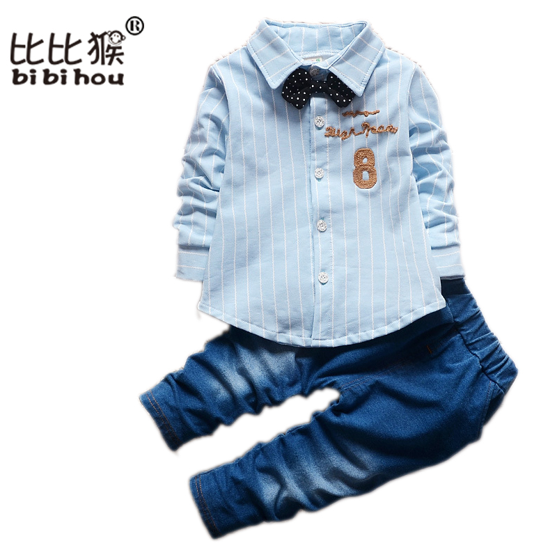 1-4T Autumn Korean Denim Jeans Clothing Set Baby Toddler Boy Bow Tie Shirt Kids Pants Brand children Clothes Top Pants Suits 2pcs children outfit clothes kids baby girl off shoulder cotton ruffled sleeve tops striped t shirt blue denim jeans sunsuit set