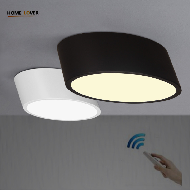 Ceiling light with remote control for indoor home lighting avize Black/White led ceiling light for Living room Kitchen abajur black and white round lamp modern led light remote control dimmer ceiling lighting home fixtures