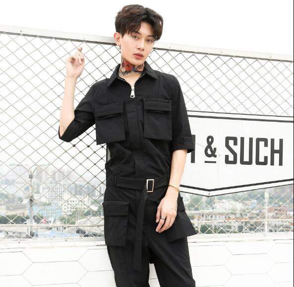 2019 Spring New Mens Retro Tooling Jumpsuit Mens Trend Trousers Personality Hip Hop Loose Jumpsuits Men Clothing Pants