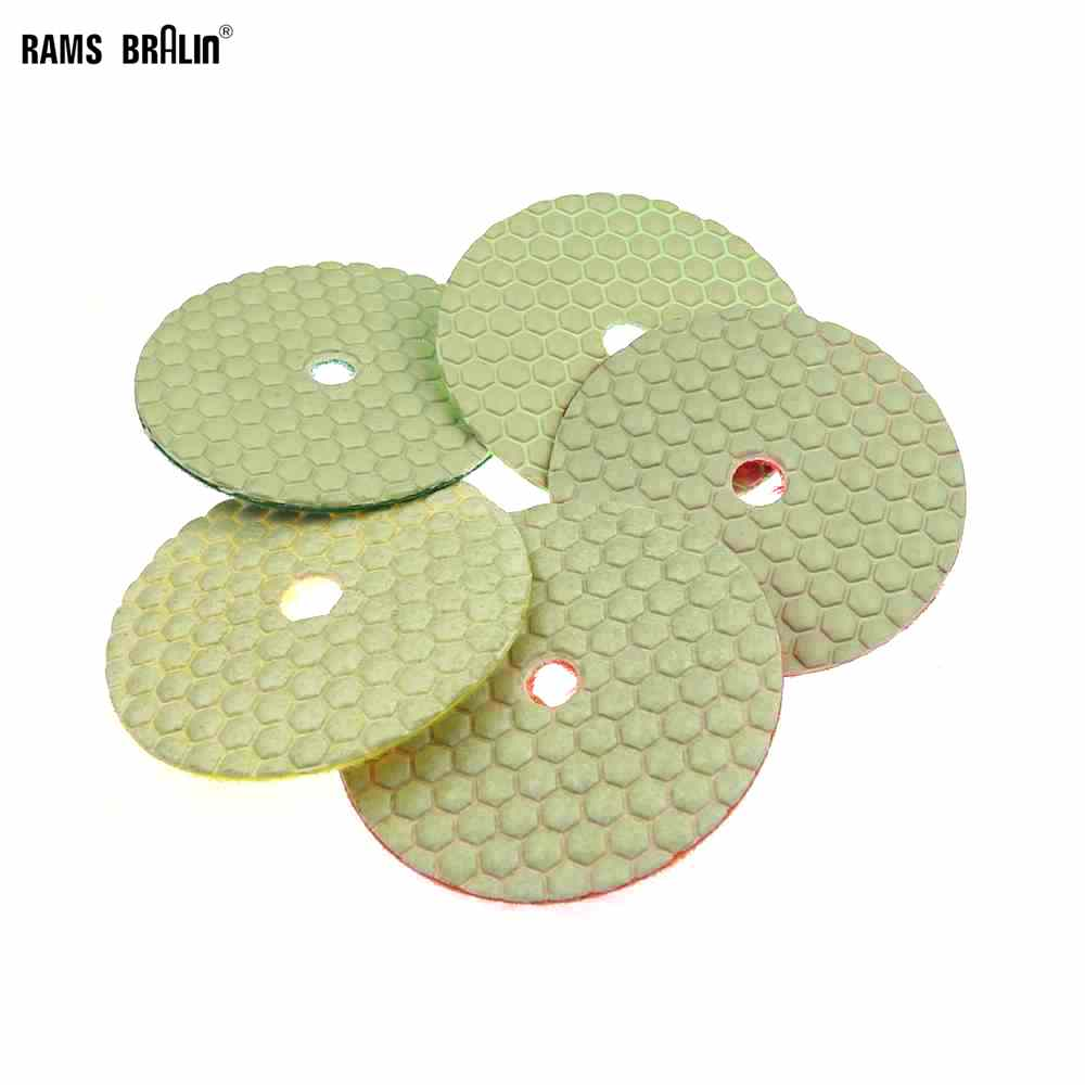 5 Pieces 4 In. Flexible Dry Grinding Disc Quick Chnage Polishing Pad For Marble Stone Concrete Floor Grinding Air Sander Tool