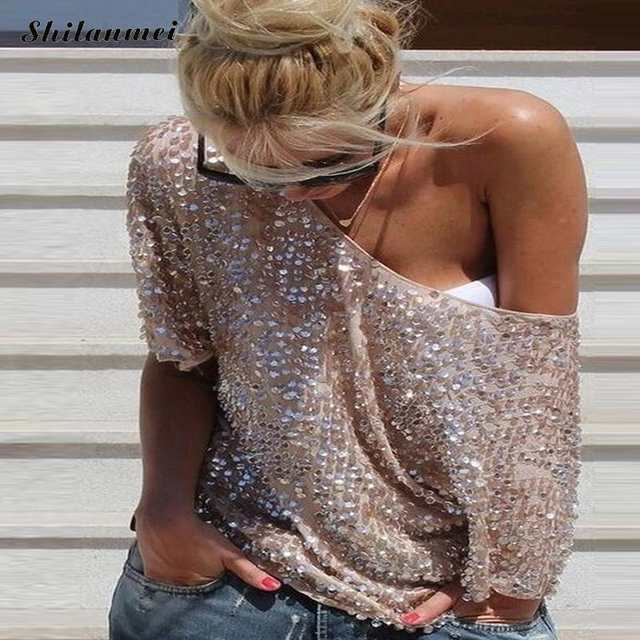 2018 Fashion Women Sexy Loose Off Shoulder Sequin Glitter Blouses Summer  Casual Shirts Vintage Streetwear Party f159b73ab400