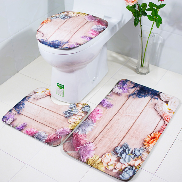 3Pcs/Set Creative Bath Mat and Toilet Cover Bathroom Retro Decoration Anti Slippery Water Absorption Bath Rugs Mats