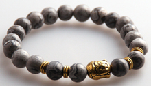 MOODPC Wholesale Jewelry Natural Picture Gray Semi Precious Stone Beads Antique Gold / Silver Buddha Bracelets for Men or Women