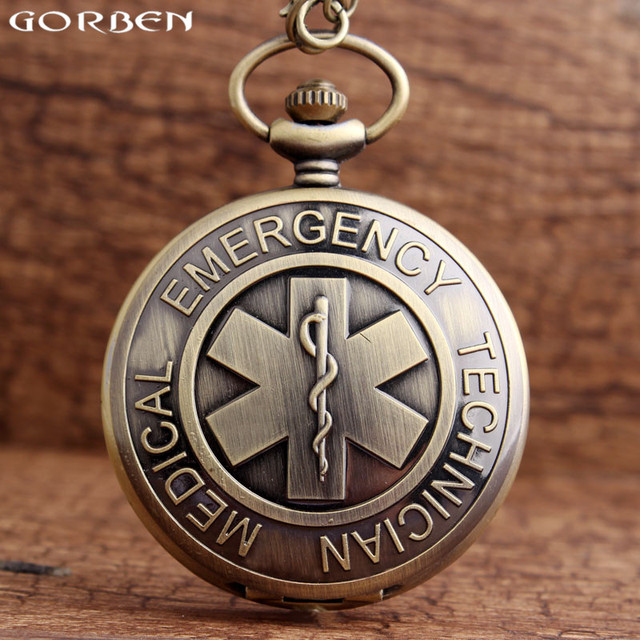 New Symbol of Medical Emergency Medical Technician Pocket Watch The Star of Life