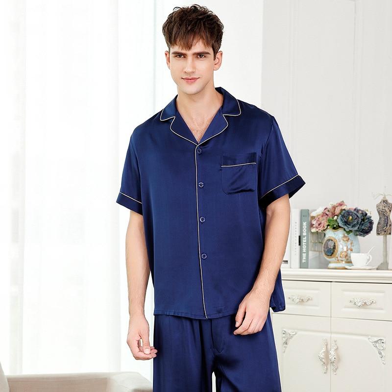FLSK Brand Sexy Genuine Silk Men Pajamas 2017 NEW Summer Short Sleeve Pajama Pants Sets Pure