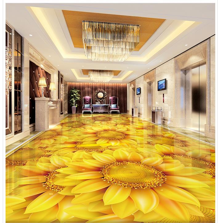 3D stereoscopic wallpaper floor Sunflowers plant flowers 3D floor Waterproof floor mural painting thumbnail