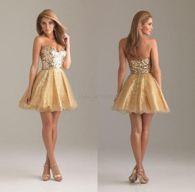 Schnelle Lieferung Gold Pailletten Fashion Short Prom Ballkleid ...