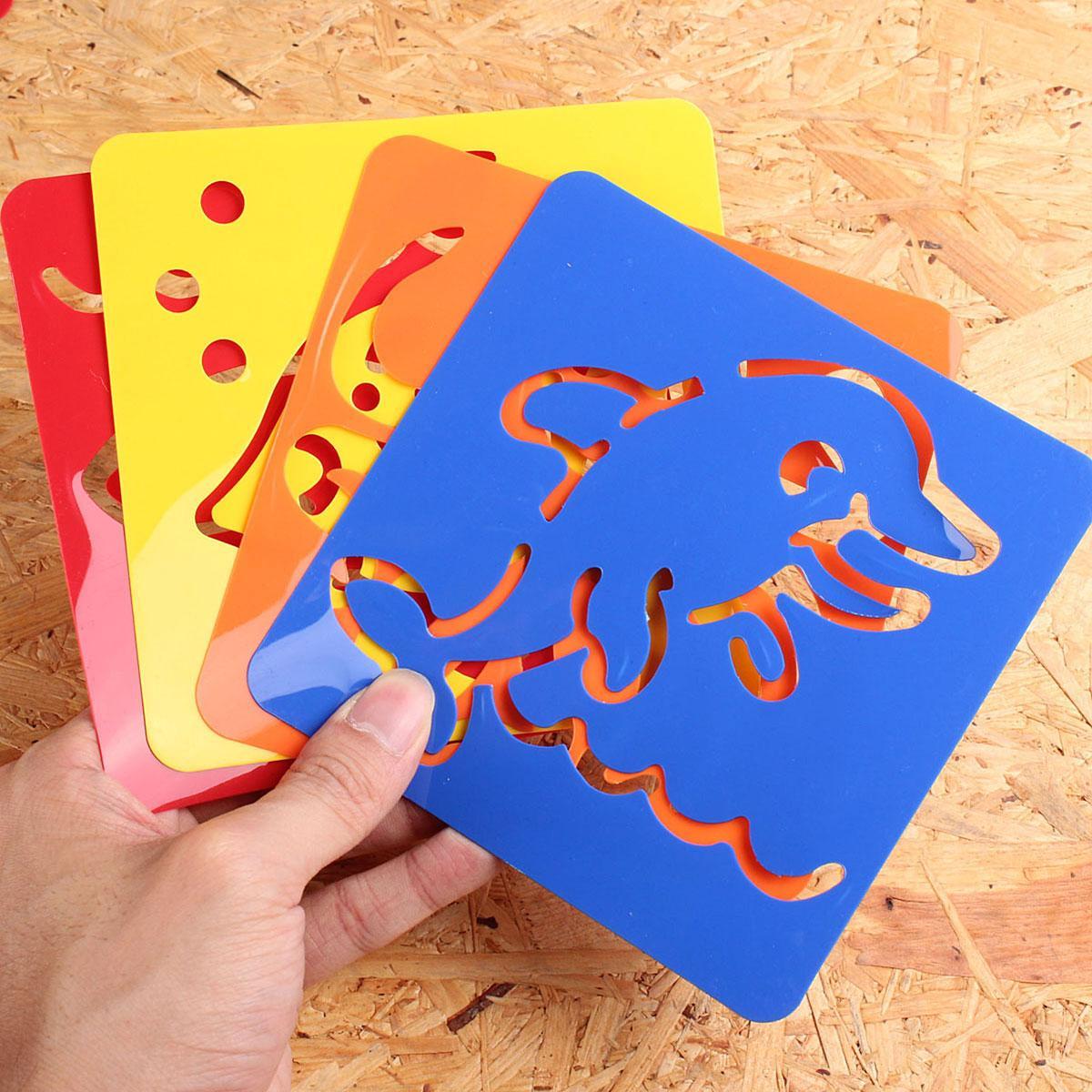 6 diseños/set plástico lavable niños Plantilla de dibujo set ...