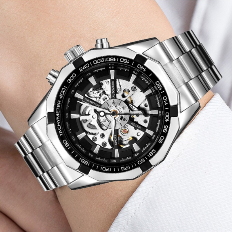 Colouring Hollow Skeleton Automatic Mechanical Watches Mens Luxury Business Full Steel Winner Wristwatch relojes para hombre