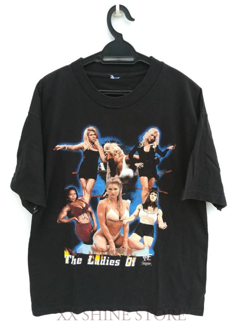 Vintage 90s WWF The Ladies Of WWF Wrestling Sexy Wrestler Very Rare T Shirt Size L Vintage Tee Shirt 90s Vintage Tee Shirt Mens(China)