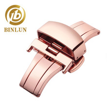 купить Replacement Push Button Butterfly Deployment Clasp with Buckle for Leather Watch Bands Straps in Gold,Rose Gold, Silver 12-22mm по цене 1055.31 рублей