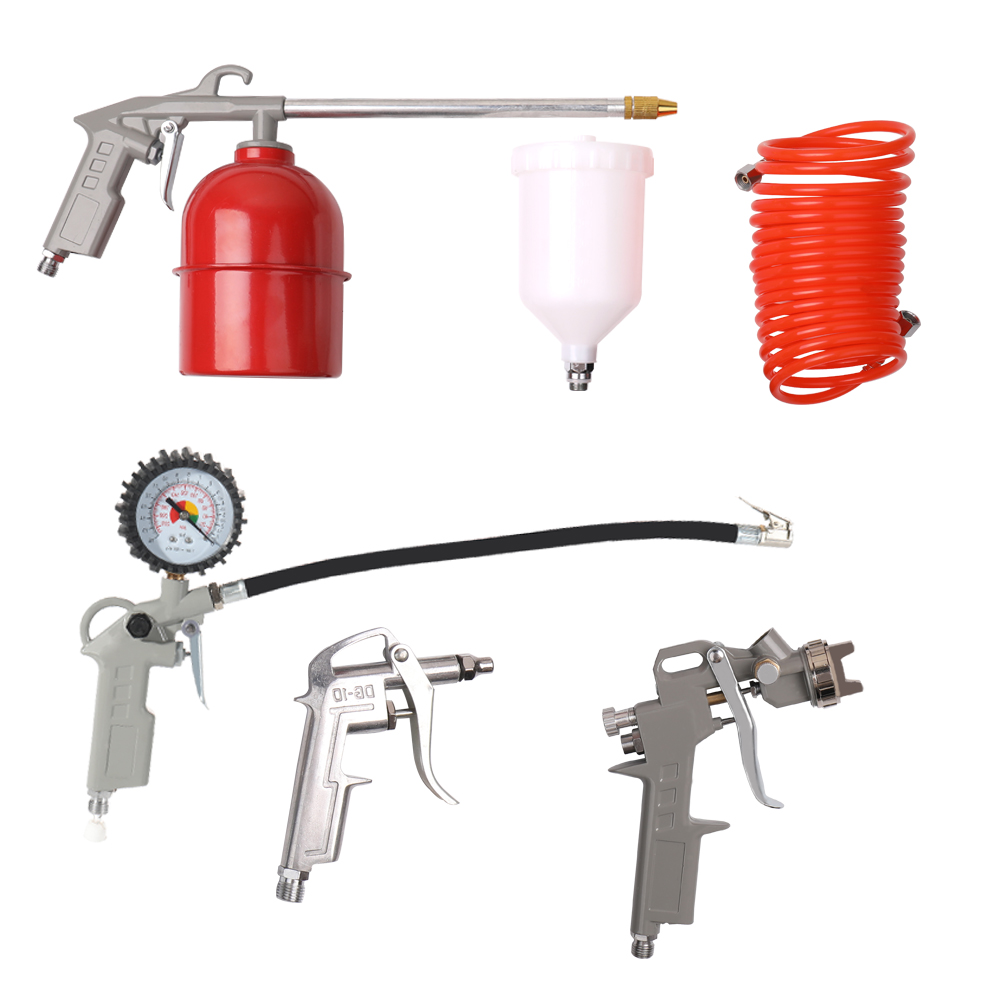 5pcs Pneumatic Spraying Paint Cleaning Machine Kit Compressed Air brush Tool Set with Spray gun Tire Pressure Machine Air Hose cleaning brush with spray