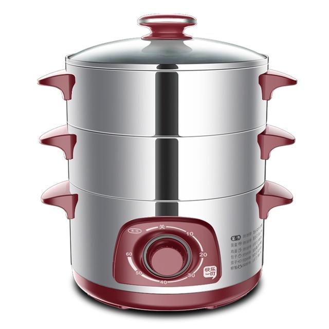 Peralatan Dapur Kecil Listrik Telur Steamer 3 Lapisan Dikukus Jagung Roti