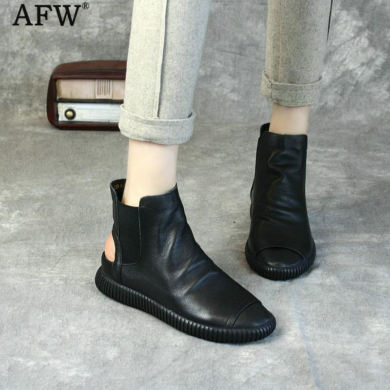 AFW Genuine Leather Women Boots Sandals Black Fish Mouth Low Heel Summer Shoes Ankle Boots Handmade Leather Sandals Set Foot women sandals 2017 summer gauze high heeled shoes lace fish mouth women sandals fashion summer ankle boots s069