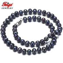 Vintage Black Pearl Choker Necklace for Women Party Jewelry Accessories Gifts 7-8MM Freshwater Pearl Jewellery Wholesale FEIGE