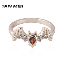 YANMEI Bat AAA Cubic Zirconia Rings For Women Silver/Gold Color Insect Ring Fashion Jewelry YMJ1818