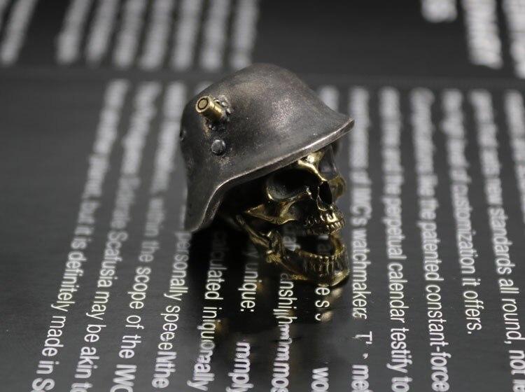 Огорченный Стерлинговое серебро латунь инкрустированный немецкий нож для шлема кулон EDC брелок Аксессуары для инструментов нож бусы - 2
