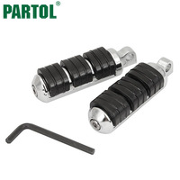 Chrome Black Anti Vibration Die Cast Aluminum Rubber Motorcycle Foot Pegs Footrests With Male Mount For