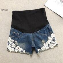 Летние короткие кружевные джинсовые штаны для беременных женщин, одежда для беременных, шорты, джинсы для живота, новинка размера плюс XXL