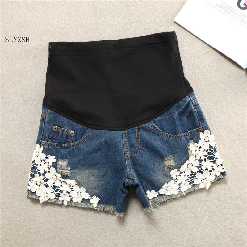 Summer Short Maternity Lace Jeans Pants For Pregnant Women Clothing Pregnancy Clothes Shorts Belly Jeans 2019 New Plus Size XXL