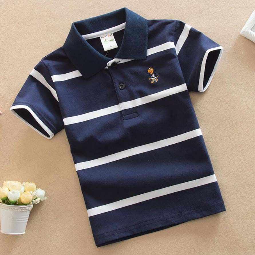 ボーイズポロシャツ 1-13 T 子供の夏の綿半袖 tシャツスリーブターンダウンカラープルオーバー服十代のストライプトップス子供