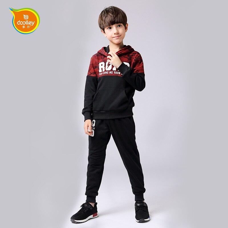 купить DOOLLEY Boy Fashion Clothes Sets Sweatshir + Pants 2017 New Arrival Children Cotton Suits Autumn Winter Clothing Size 120-170 cm дешево