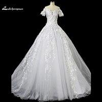 Elegant V Neck A Line Wedding Dresses 2018 Short Sleeves Cristal Court Train Wedding Gowns Custom
