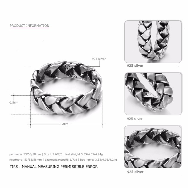 Say You Say Me 925 Sterling Silver Rings Wholesale Punk Rope Rings Wedding&Engagement Jewelry 2018 New Arrival Best Gifts