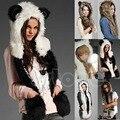 10 Estilos de Inverno Quente da Pele Do Falso Animal Cap Chapéu Fofo De Pelúcia Dint Capuz Cachecol Xale com Luvas Conjunto Leopardo Chapéu Panda Cachecol conjunto