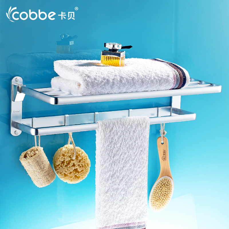 Bright Silver Aluminium Bathroom Towel Rack Holder For Towel Bathroom Accessories Towel Hanger Storage Wall Shelf Cobbe 72583-1L