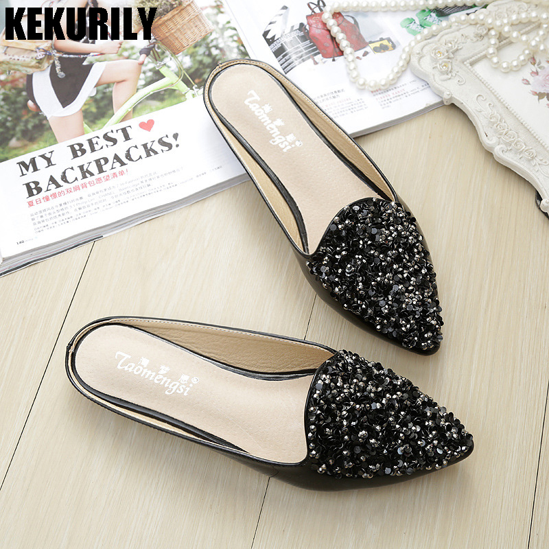 Shoes Woman Pointed toe Slides Rhinestone Mules Ladies Flats Slippers Patent leather Sandals Flip flops Plus Size white black