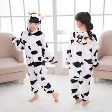 85-165cm Panda Kigurumi Animal Unicorn Onesie Kids Flannel Pajamas Boys Girls Winter Cosplay Party Jumpsuit Sleepwear Pijama